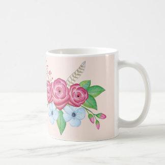 """Good Morning""  Pretty Watercolor Flower Bouque Coffee Mug"