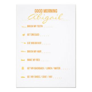 Good Morning Routine Checklist 13 Cm X 18 Cm Invitation Card