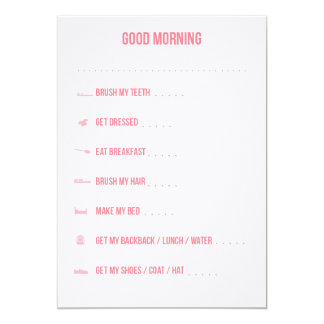 Good Morning Routine Checklist / Pink 13 Cm X 18 Cm Invitation Card