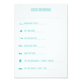 Good Morning Routine Checklist / Teal Card