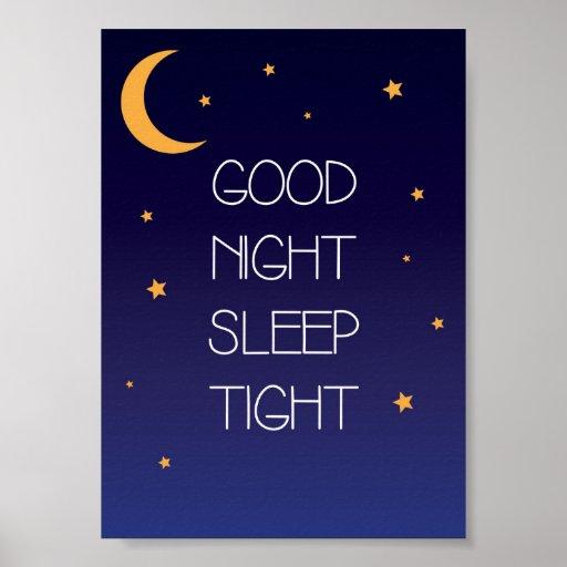 Good Night Sleep Tight Quote Poster