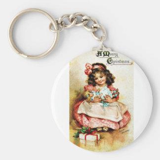 Good Old Christmas Basic Round Button Key Ring