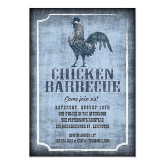 Good Old Fashion Chicken Barbecue Aged Invitation