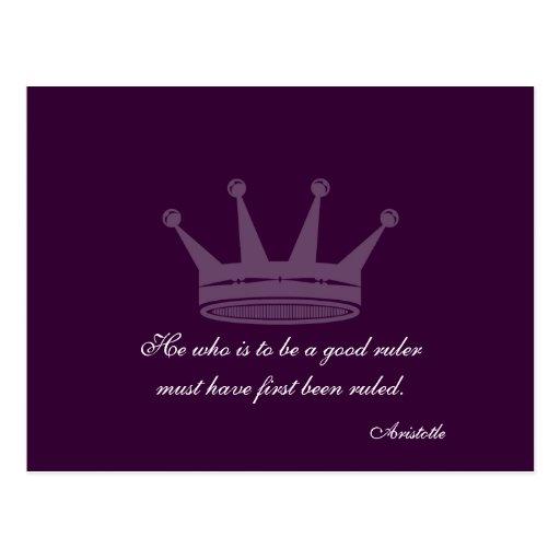 Good Ruler Quote - Aristotle PostCards