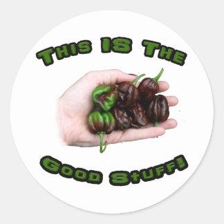 Good Stuff Chocolate Habanero Hot Pepper Design Round Sticker