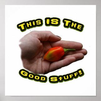 Good Stuff Habanero in Hand Hot Pepper Design Print