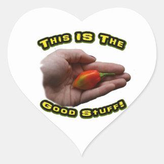 Good Stuff Habanero in Hand Hot Pepper Design Heart Stickers