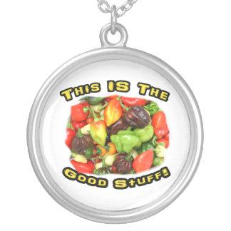Good Stuff Hot Pepper Pile Design Image Round Pendant Necklace