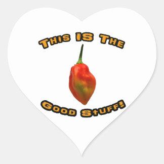 Good Stuff Single Habanero Hot Pepper Design Heart Sticker