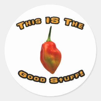 Good Stuff Single Habanero Hot Pepper Design Round Stickers