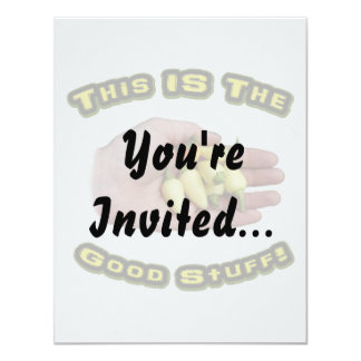 "Good Stuff White Hot Peppers in Hand Design 4.25"" X 5.5"" Invitation Card"