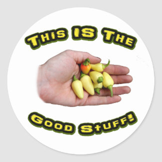 Good Stuff White Hot Peppers in Hand Design Stickers