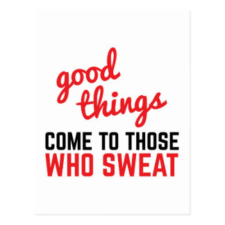 Good Things Come Sweat Gym Quote Postcard