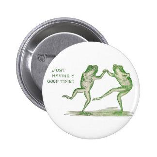 Good Time Frogs Dance Vintage 6 Cm Round Badge