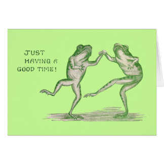 Good Time Frogs Dance Vintage Greeting Card