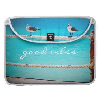 """Good vibes"" beach birds photo Macbook Pro sleeve"