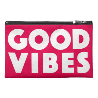 Good Vibes Big Text Logo White On Red Motivational Travel Accessories Bag