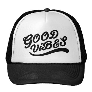 Good Vibes New Age Typography Black And White Cap