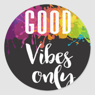 Good Vibes Only, Inspirational Quote Classic Round Sticker