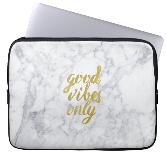 Good vibes only marble laptop sleeve