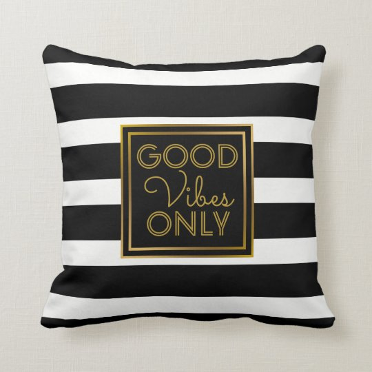 Good Vibes Only Modern Black and White Stripe