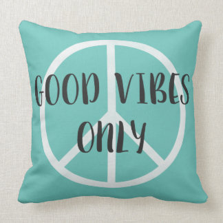Good Vibes Only Peace Sign with Boho Style Arrows Cushion