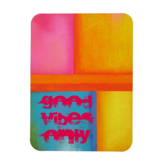 """Good Vibes Only"" - Pink Yellow Blue Abstract Art Rectangular Photo Magnet"