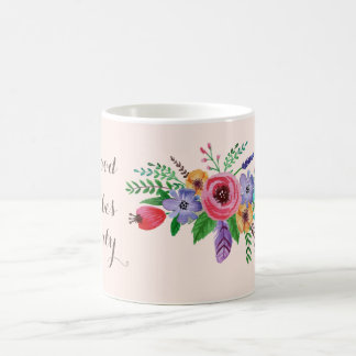 """""""Good Vibes Only""""  Pretty Watercolor Flower Bouque Basic White Mug"""