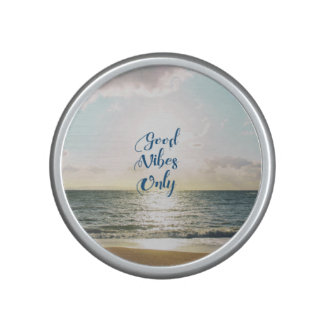"""""""Good Vibes Only"""" Quote Be Positive, Sea Beach Sun Bluetooth Speaker"""