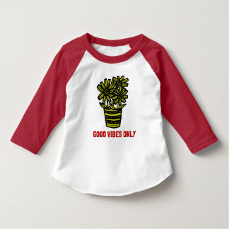 """Good Vibes Only"" Toddler 3/4 Sleeve Raglan T-Shir T-Shirt"