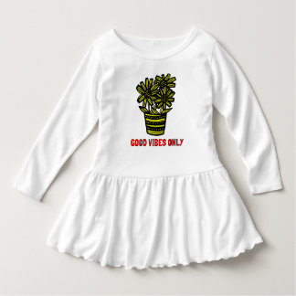 """""""Good Vibes Only"""" Toddler Ruffle Dress"""