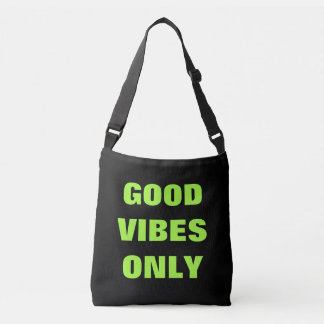 GOOD VIBES ONLY trendy neon green cross body bag