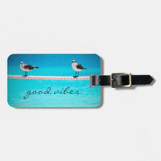 """""""Good Vibes"""" Quote White Seagull Beach Birds Photo Luggage Tag"""