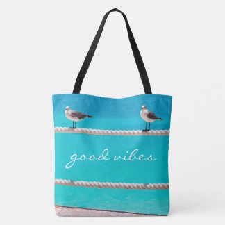 """Good vibes"" quote white seagull beach birds photo Tote Bag"