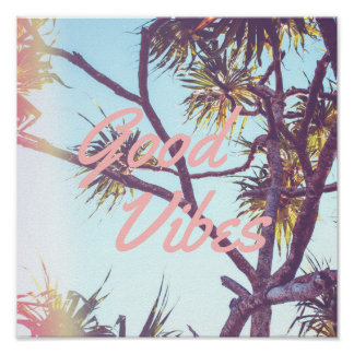Good Vibes - Retro Tropical Tree | Poster