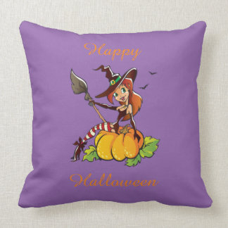 Good Witch Happy Halloween Throw Pillow