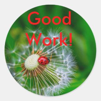Good Work Ladybug Round Sticker
