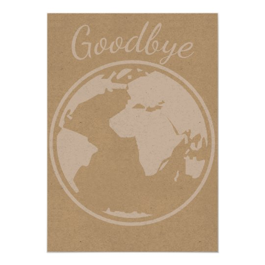 goodbye globe world map card