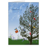 Goodbye with birds in tree greeting card
