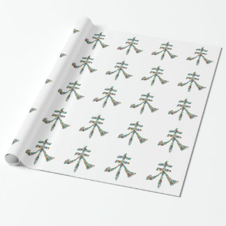 Goodluck Script : Chinese Oriental Gems Wrapping Paper