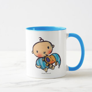 Goodnight Kisses Adorable Puppy in Blue Pajamas Mug