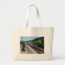 Goods train in Gemünden at the Main Large Tote Bag