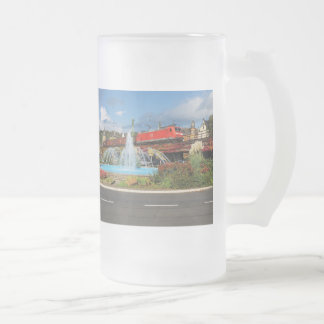 Goods train in Linz on the Rhine Frosted Glass Beer Mug