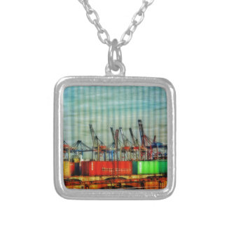 Goods train - ready for transport square pendant necklace
