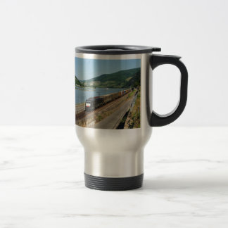 Goods train with ASS one ASS on the Rhine Travel Mug