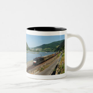 Goods train with ASS one ASS on the Rhine Two-Tone Coffee Mug