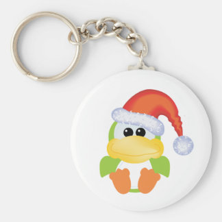 Goofkins Green Duck Xmas santa Basic Round Button Key Ring