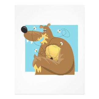 goofy bear eating honey flyer design