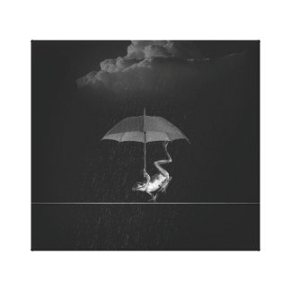Goofy Black and White Frog with Umbrella in Rain Canvas Print