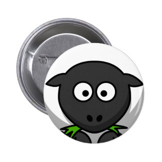 Goofy Black and White Plump Sheep Eating Grass 6 Cm Round Badge